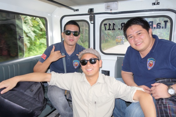 Darwin, Mark, and SFDEM's Francis Zamora ride in the back of a TaRSIER response vehicle.