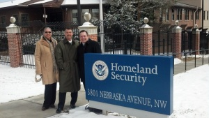 L-R: Oakland Director of Emergency Services Renee Domingo, Santa Clara County Fire Chief Ken Kehmna, and Bay Area UASI General Manager Craig Dziedzic at the U.S. Department of Homeland Security headquarters in Washington, DC.