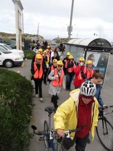 NERT volunteers walk away from Ocean Beach during the inaugural SF Tsunami Walk